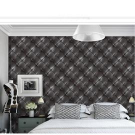 3D Black Leather Simulation Wallpaper Waterproof  Moisture-proof Mildew-proof Self-Adhesive Decorative Wall Murals