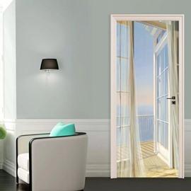 The Balcony Scene 3D Door Stickers Waterproof Removable Self-Adhesive Landscape Door Murals for Home Decor