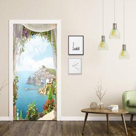 3D Waterproof Moisture-Proof Landscape DIY Door Murals Removable Self-Adhesive Door Decal for Home Decoration