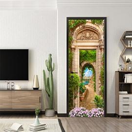 3D European Landscape Waterproof Self-Adhesive Door Murals Removable DIY Door Decals for Home Decoration