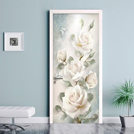 3D White Roses Self-adhesive Waterproof Door Murals Eco-friendly Removable Decorative Stickers