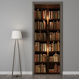 3D Retro Bookshelf Self-adhesive Waterproof Door Murals Eco-friendly Removable Decorative Stickers