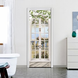 3D Eco-friendly Waterproof DIY Landscape Door Stickers Removable Self-adhesive Door Decorations for Home Office