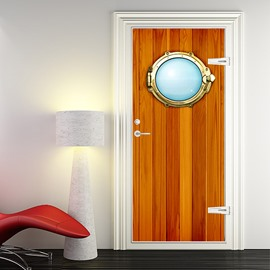 3D Wood Door Murals Wall Sticker Self Adhesive Door Art Stickers Home Wall Decorations