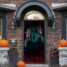 Creative Halloween  3D Door Murals Wall Decorations PVC Not Fade Waterproof Removable Door Cover Two PCS