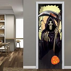 Halloween Killer Death God 3D Door Murals Wall Stickers Decorations PVC not Fade Waterproof Removable Door Cover 30×78inch