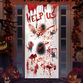 Creative Red Halloween 3D Door Murals Blood Handprint Help Us Wall Decorations PVC Not Fade Waterproof Removable Door Cover One PCS