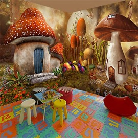 Creative Mushroom House Natural Scenery Pattern 3D Wall Murals