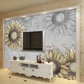 Decorative Simple Style Sunflowers Pattern Waterproof 3D Wall Murals