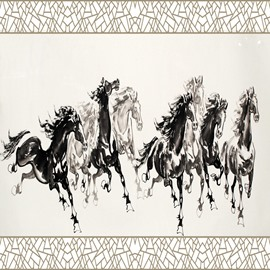 White and Black Simple Style Horses Pattern Waterproof 3D Wall Murals
