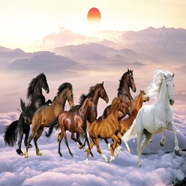 Fabulous Creative Design Horses Pattern Waterproof 3D Wall Murals