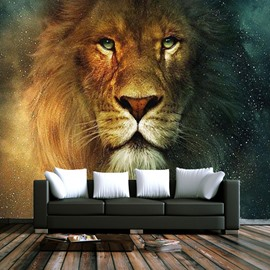Brown Lion Head Pattern PVC Waterproof and Durable 3D Wall Murals