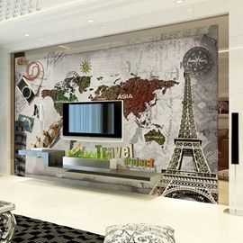 Wonderful World Map Pattern Design Decorative Waterproof 3D Wall Murals