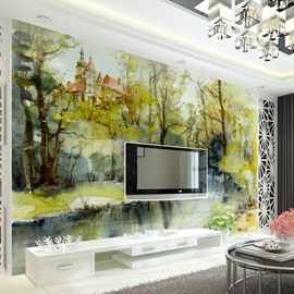 Natural Design River Scenery Pattern Decorative Waterproof 3D Wall Murals