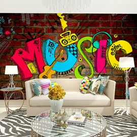 Unique Colorful Music Fashion Pattern Waterproof Decorative 3D Wall Murals