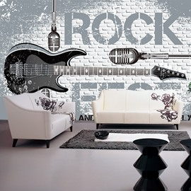 Simple Style Rock Guitar Pattern Design Home Decorative Waterproof 3D Wall Murals