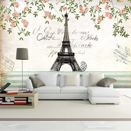 Charming Eiffel Tower Paris Scenery Pattern Waterproof 3D Wall Murals