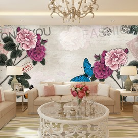 Gorgeous Beautiful Flowers and Butterflies Pattern Waterproof 3D Wall Murals