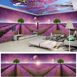 Purple Romantic Lavender Field Pattern Design Waterproof 3D Wall and Ceiling Murals