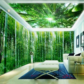 3D Green Natural Bamboo Forest Pattern Design Waterproof Self-Adhesive Ceiling and Wall Murals