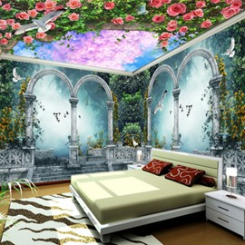 Amazing Flowers and Forest Scenery Pattern Ceiling and Wall Combined 3D Wall Murals