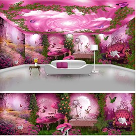 Pink Beautiful Forest Scenery and Sky Pattern Design Waterproof 3D Ceiling and Wall Murals