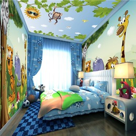 Cute Cartoon Animals in the Forest Pattern Waterproof Combined 3D Ceiling and Wall Murals