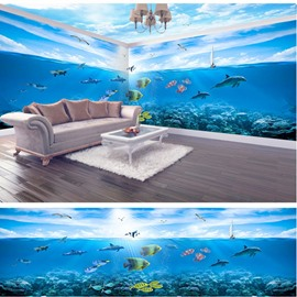 Blue Seaside Scenery and Sky Pattern Waterproof Combined 3D Ceiling and Wall Murals