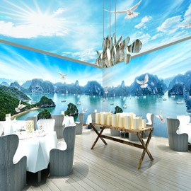 Fabulous River Scenery and Blue Sky Pattern Combined 3D Ceiling and Wall Murals