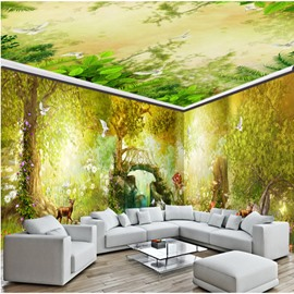 Luxuriant Forest Scenery Pattern Waterproof Combined 3D Ceiling and Wall Murals