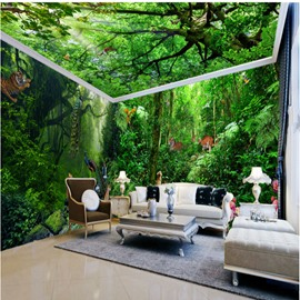 Green Vivid Tigers in the Forest Prints Waterproof Combined 3D Ceiling and Wall Murals