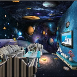 3D Planets in Universe Durable Waterproof and Eco-friendly Ceiling/Wall Murals