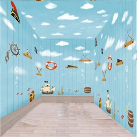 Blue Cartoon Mediterranean Style Boats and Clouds Pattern Combined Waterproof 3D Ceiling and Wall Murals
