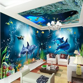 Lovely Dolphins and Fishes Pattern Design Waterproof 3D Ceiling and Wall Murals