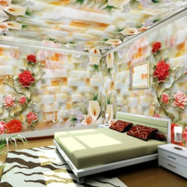 Modern Creative Lifelike Ceramic Flowers Pattern Design Waterproof 3D Ceiling and Wall Murals