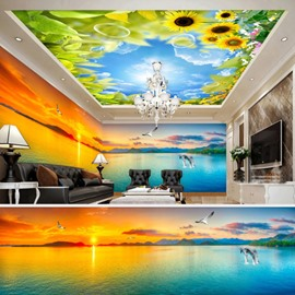 Special Design Sunset Sea Scenery and Sunflowers Pattern Combined 3D Ceiling and Wall Murals