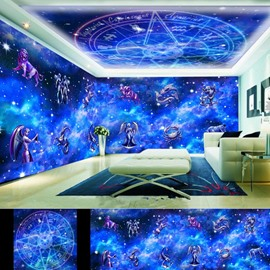 Dreamy Blue Constellation Pattern Design Combined 3D Ceiling and Wall Murals
