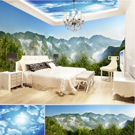 Magnificent Mountain and Blue Sky Pattern Combined 3D Ceiling and Wall Murals