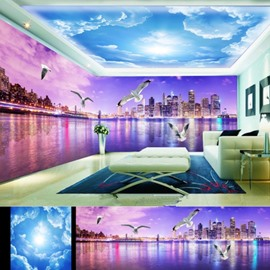 Purple City Scenery and Blue Sky Pattern Combined 3D Ceiling and Wall Murals