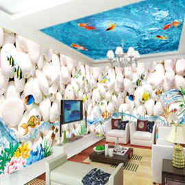 White Cobblestones and Fishes Pattern Combined 3D Ceiling and Wall Murals
