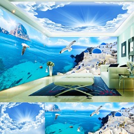 Blue Mediterranean Style Sea and Blue Sky Scenery Pattern Combined 3D Ceiling and Wall Murals