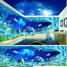 Blue Lifelike Dolphins in the Sea Pattern Waterproof Combined 3D Ceiling and Wall Murals