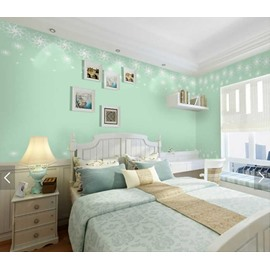 Green Background with Snow Style 3D Waterproof Wall Murals