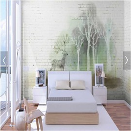 Green Forest and Deer with Bricks Background 3D Waterproof Wall Murals