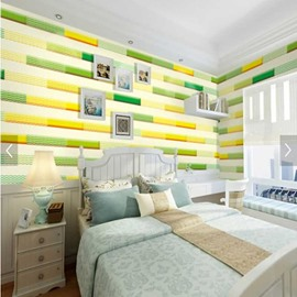 Yellow and Green Bricks 3D Waterproof Wall Murals