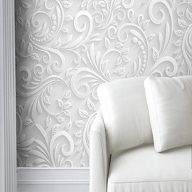 White Floral Prints Elegant Style Waterproof Durable and Eco-friendly 3D Wall Murals