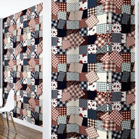 Squares with Flowers and Plaids 3D Waterproof Wall Mural