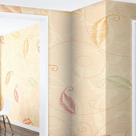 Beige Background with Leaves 3D Waterproof Wall Mural