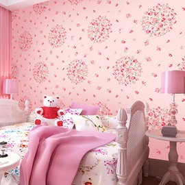 Pink Background Embellished by Flowers 3D Waterproof Wall Mural