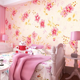 Pink and Red Petals with Yellow Leaves Waterproof and Eco-friendly 3D Wall Mural